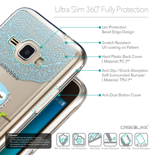 Details in English - CASEiLIKE Samsung Galaxy J1 (2016) back cover Owl Graphic Design 3318