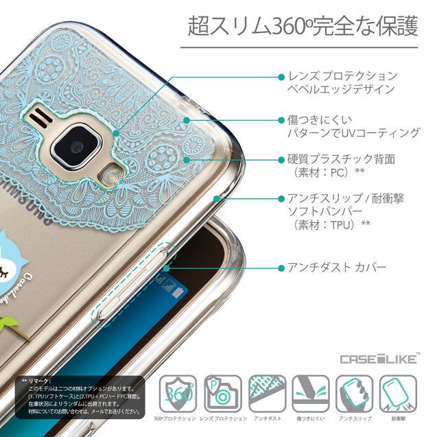 Details in Japanese - CASEiLIKE Samsung Galaxy J1 (2016) back cover Owl Graphic Design 3318