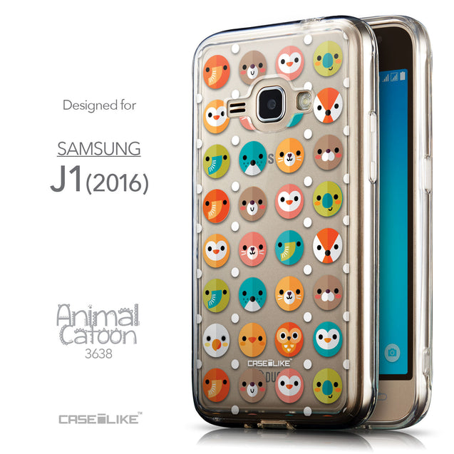 Front & Side View - CASEiLIKE Samsung Galaxy J1 (2016) back cover Animal Cartoon 3638