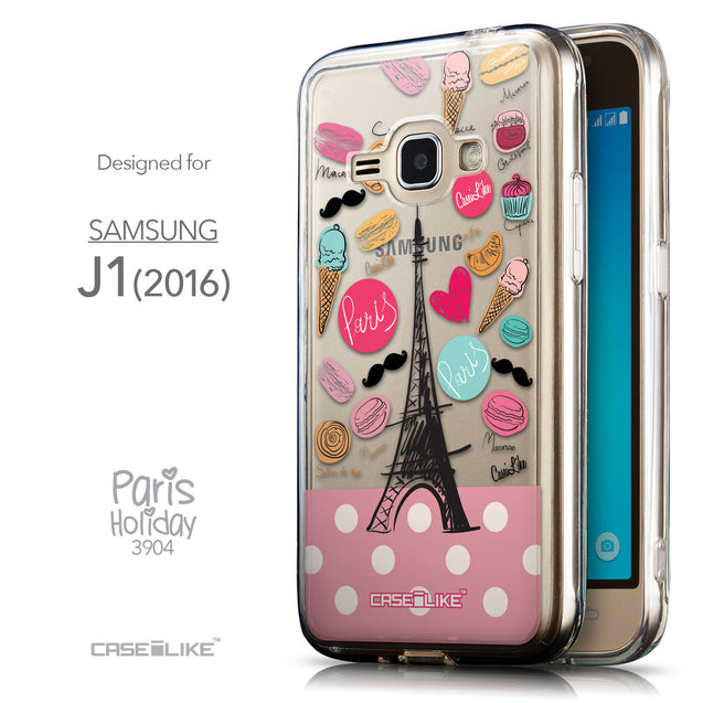 Front & Side View - CASEiLIKE Samsung Galaxy J1 (2016) back cover Paris Holiday 3904