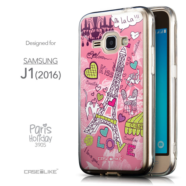 Front & Side View - CASEiLIKE Samsung Galaxy J1 (2016) back cover Paris Holiday 3905