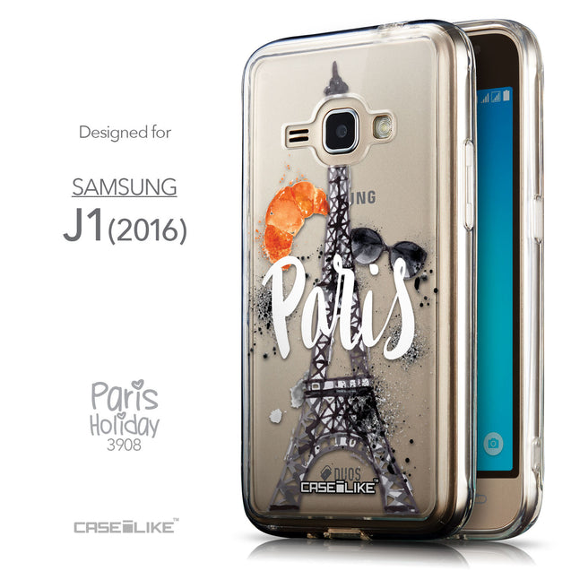 Front & Side View - CASEiLIKE Samsung Galaxy J1 (2016) back cover Paris Holiday 3908