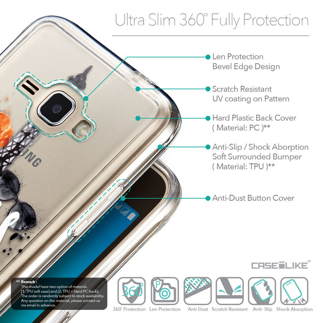 Details in English - CASEiLIKE Samsung Galaxy J1 (2016) back cover Paris Holiday 3908