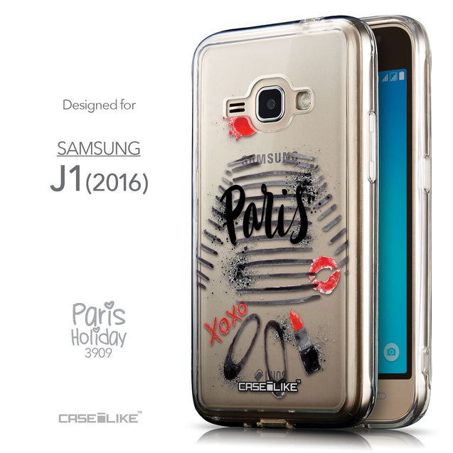Front & Side View - CASEiLIKE Samsung Galaxy J1 (2016) back cover Paris Holiday 3909