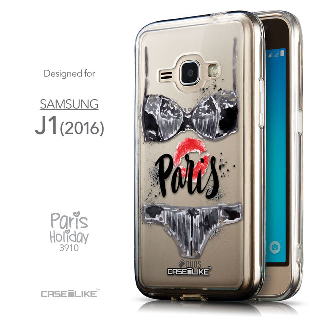 Front & Side View - CASEiLIKE Samsung Galaxy J1 (2016) back cover Paris Holiday 3910
