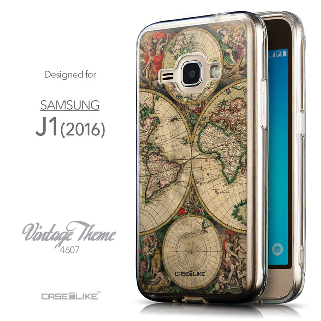 Front & Side View - CASEiLIKE Samsung Galaxy J1 (2016) back cover World Map Vintage 4607