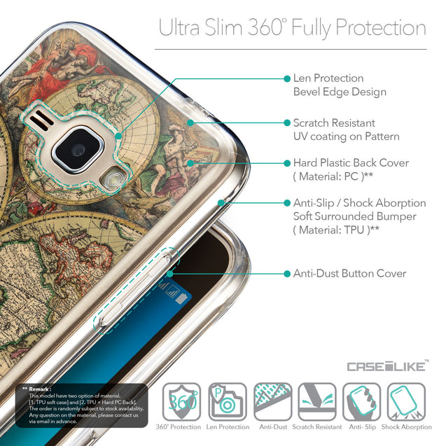 Details in English - CASEiLIKE Samsung Galaxy J1 (2016) back cover World Map Vintage 4607