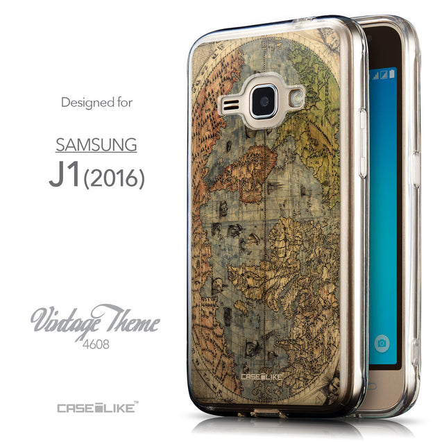 Front & Side View - CASEiLIKE Samsung Galaxy J1 (2016) back cover World Map Vintage 4608