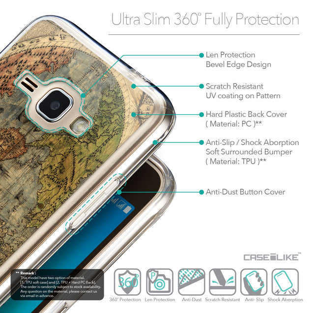 Details in English - CASEiLIKE Samsung Galaxy J1 (2016) back cover World Map Vintage 4608