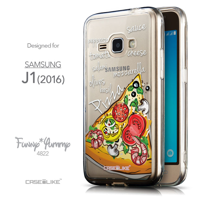 Front & Side View - CASEiLIKE Samsung Galaxy J1 (2016) back cover Pizza 4822