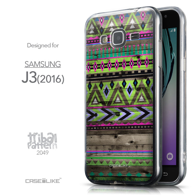 Front & Side View - CASEiLIKE Samsung Galaxy J3 (2016) back cover Indian Tribal Theme Pattern 2049