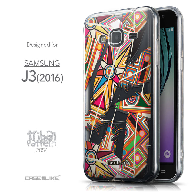 Front & Side View - CASEiLIKE Samsung Galaxy J3 (2016) back cover Indian Tribal Theme Pattern 2054