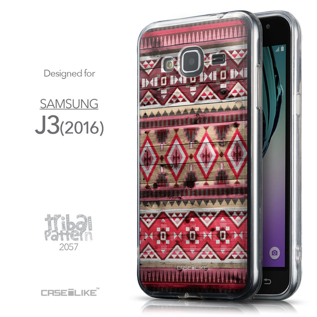 Front & Side View - CASEiLIKE Samsung Galaxy J3 (2016) back cover Indian Tribal Theme Pattern 2057