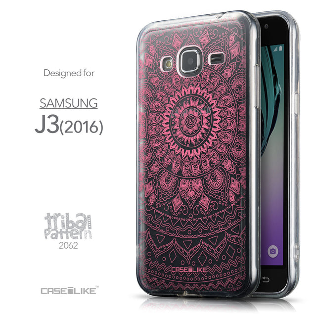 Front & Side View - CASEiLIKE Samsung Galaxy J3 (2016) back cover Indian Line Art 2062