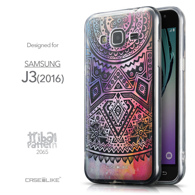 Front & Side View - CASEiLIKE Samsung Galaxy J3 (2016) back cover Indian Line Art 2065