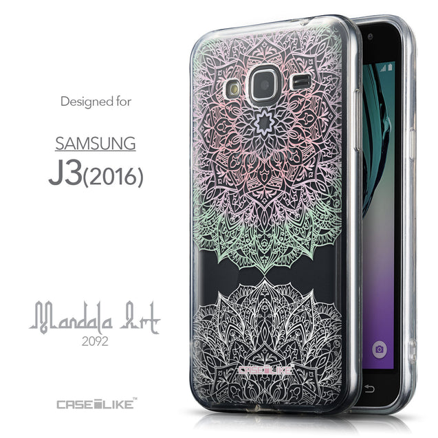 Front & Side View - CASEiLIKE Samsung Galaxy J3 (2016) back cover Mandala Art 2092
