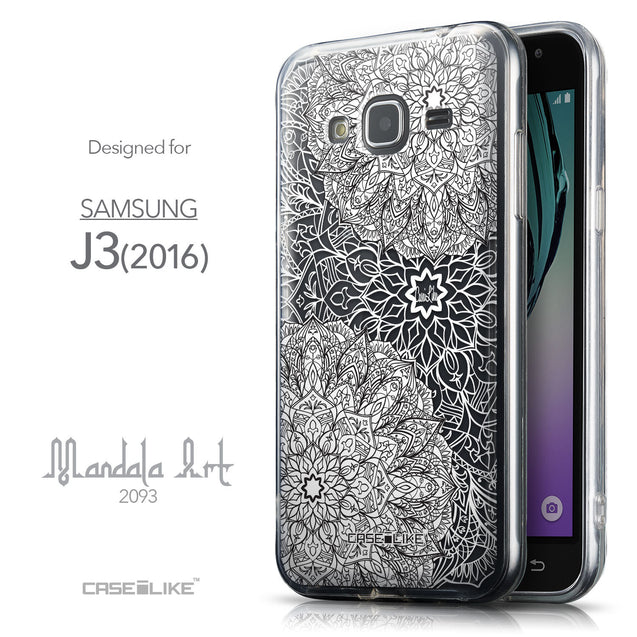 Front & Side View - CASEiLIKE Samsung Galaxy J3 (2016) back cover Mandala Art 2093