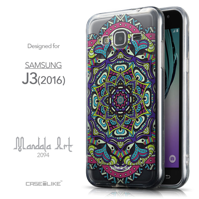 Front & Side View - CASEiLIKE Samsung Galaxy J3 (2016) back cover Mandala Art 2094