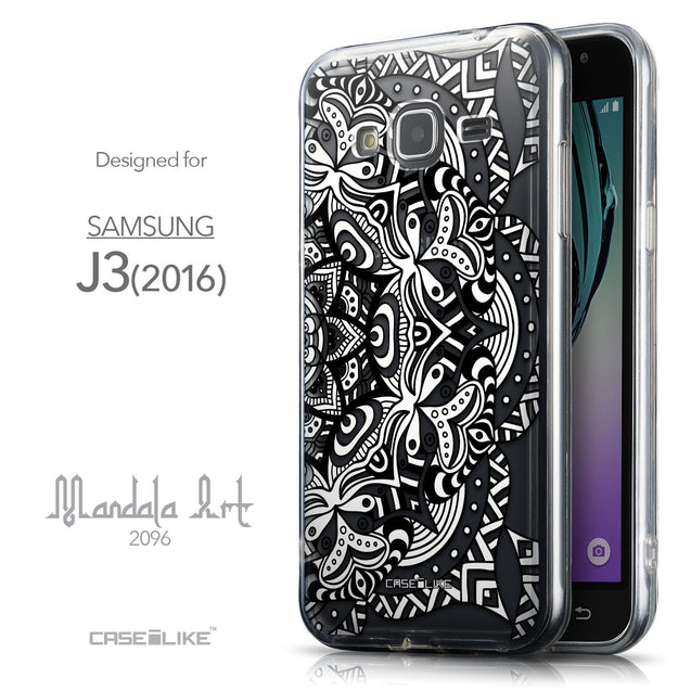 Front & Side View - CASEiLIKE Samsung Galaxy J3 (2016) back cover Mandala Art 2096