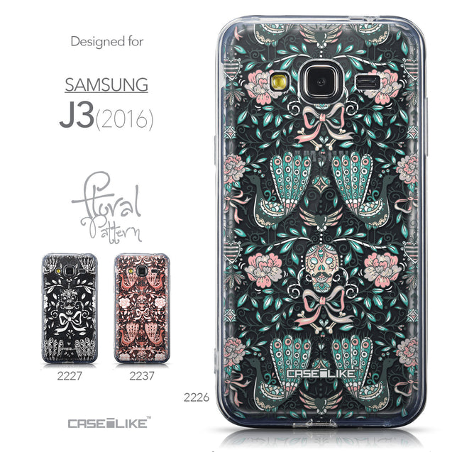 Collection - CASEiLIKE Samsung Galaxy J3 (2016) back cover Roses Ornamental Skulls Peacocks 2226