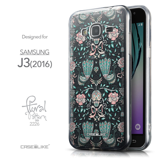 Front & Side View - CASEiLIKE Samsung Galaxy J3 (2016) back cover Roses Ornamental Skulls Peacocks 2226