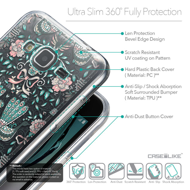 Details in English - CASEiLIKE Samsung Galaxy J3 (2016) back cover Roses Ornamental Skulls Peacocks 2226