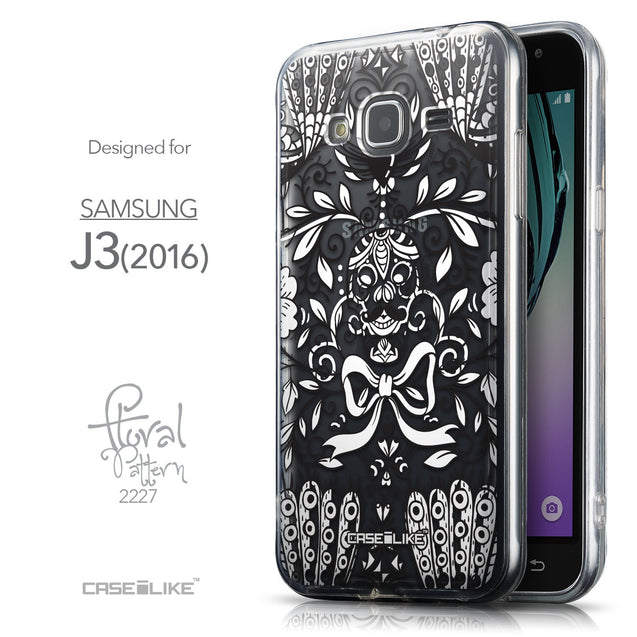 Front & Side View - CASEiLIKE Samsung Galaxy J3 (2016) back cover Roses Ornamental Skulls Peacocks 2227