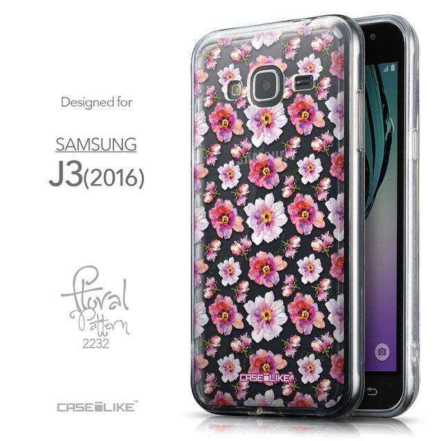 Front & Side View - CASEiLIKE Samsung Galaxy J3 (2016) back cover Watercolor Floral 2232