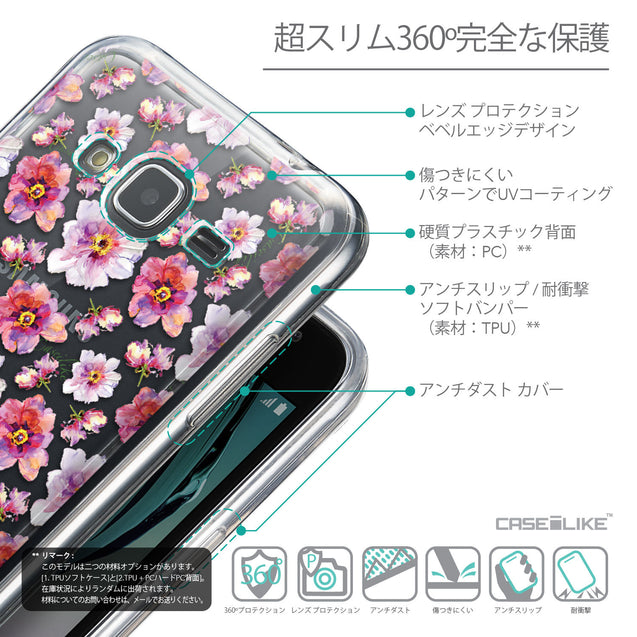Details in Japanese - CASEiLIKE Samsung Galaxy J3 (2016) back cover Watercolor Floral 2232