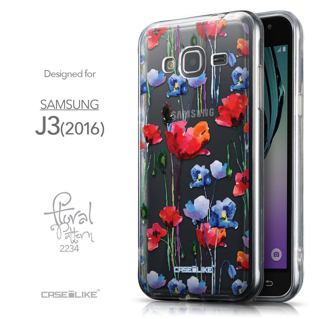 Front & Side View - CASEiLIKE Samsung Galaxy J3 (2016) back cover Indian Line Art 2061