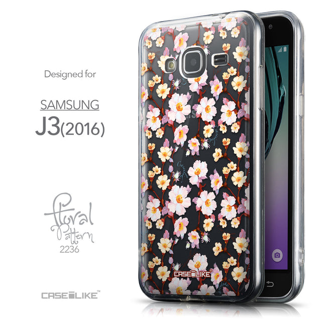 Front & Side View - CASEiLIKE Samsung Galaxy J3 (2016) back cover Watercolor Floral 2236