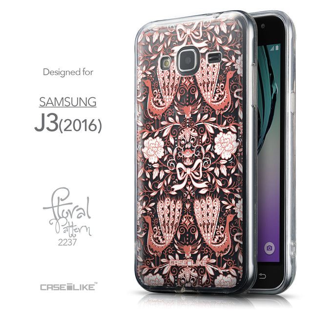 Front & Side View - CASEiLIKE Samsung Galaxy J3 (2016) back cover Roses Ornamental Skulls Peacocks 2237