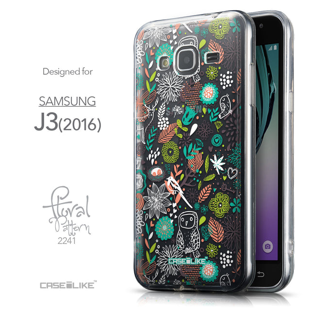 Front & Side View - CASEiLIKE Samsung Galaxy J3 (2016) back cover Spring Forest White 2241