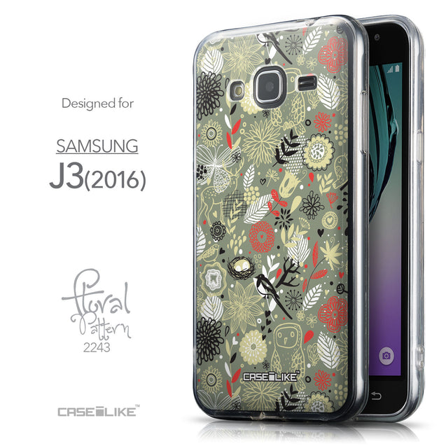 Front & Side View - CASEiLIKE Samsung Galaxy J3 (2016) back cover Spring Forest Gray 2243