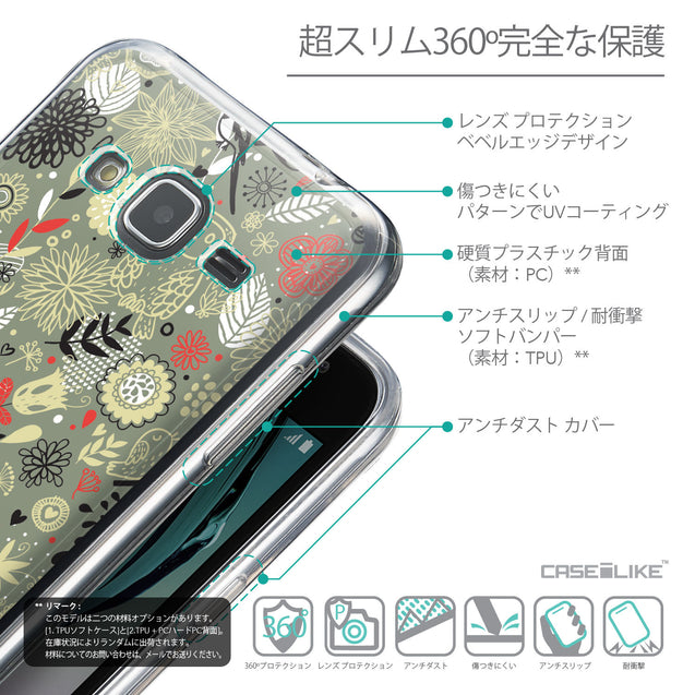 Details in Japanese - CASEiLIKE Samsung Galaxy J3 (2016) back cover Spring Forest Gray 2243