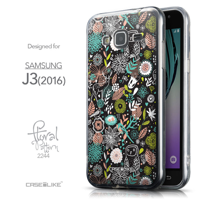 Front & Side View - CASEiLIKE Samsung Galaxy J3 (2016) back cover Spring Forest Black 2244