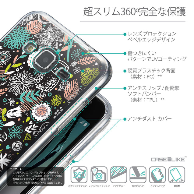 Details in Japanese - CASEiLIKE Samsung Galaxy J3 (2016) back cover Spring Forest Black 2244