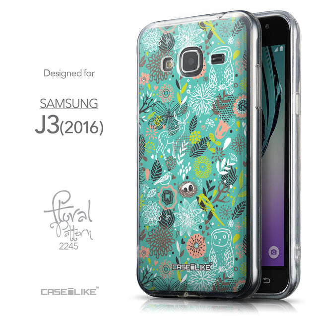 Front & Side View - CASEiLIKE Samsung Galaxy J3 (2016) back cover Spring Forest Turquoise 2245