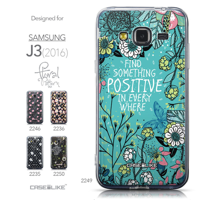 Collection - CASEiLIKE Samsung Galaxy J3 (2016) back cover Blooming Flowers Turquoise 2249