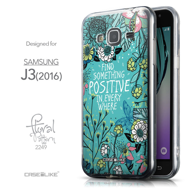 Front & Side View - CASEiLIKE Samsung Galaxy J3 (2016) back cover Blooming Flowers Turquoise 2249