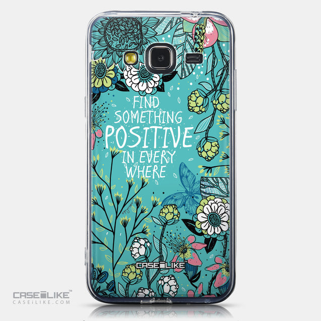 CASEiLIKE Samsung Galaxy J3 (2016) back cover Blooming Flowers Turquoise 2249
