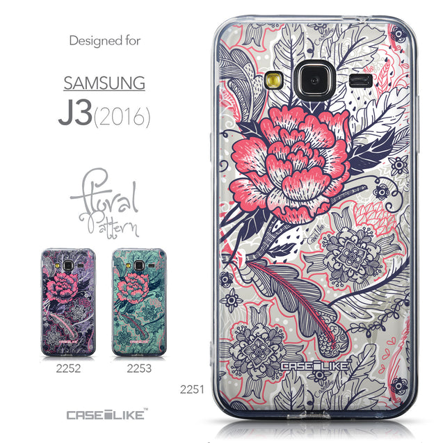 Collection - CASEiLIKE Samsung Galaxy J3 (2016) back cover Vintage Roses and Feathers Beige 2251