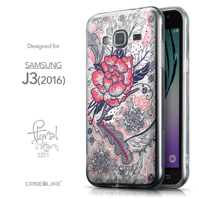 Front & Side View - CASEiLIKE Samsung Galaxy J3 (2016) back cover Vintage Roses and Feathers Beige 2251
