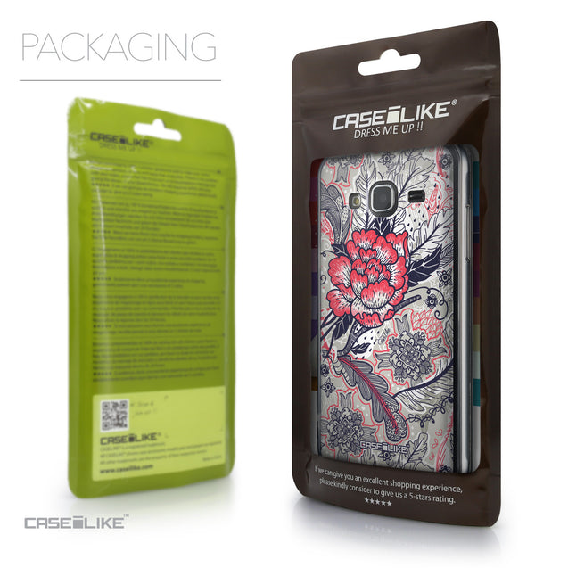 Packaging - CASEiLIKE Samsung Galaxy J3 (2016) back cover Vintage Roses and Feathers Beige 2251