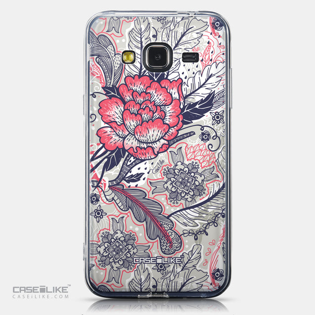 CASEiLIKE Samsung Galaxy J3 (2016) back cover Vintage Roses and Feathers Beige 2251