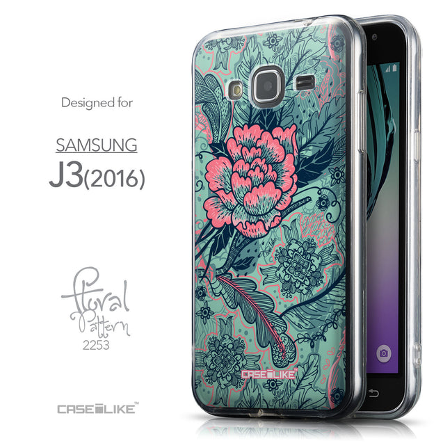 Front & Side View - CASEiLIKE Samsung Galaxy J3 (2016) back cover Vintage Roses and Feathers Turquoise 2253