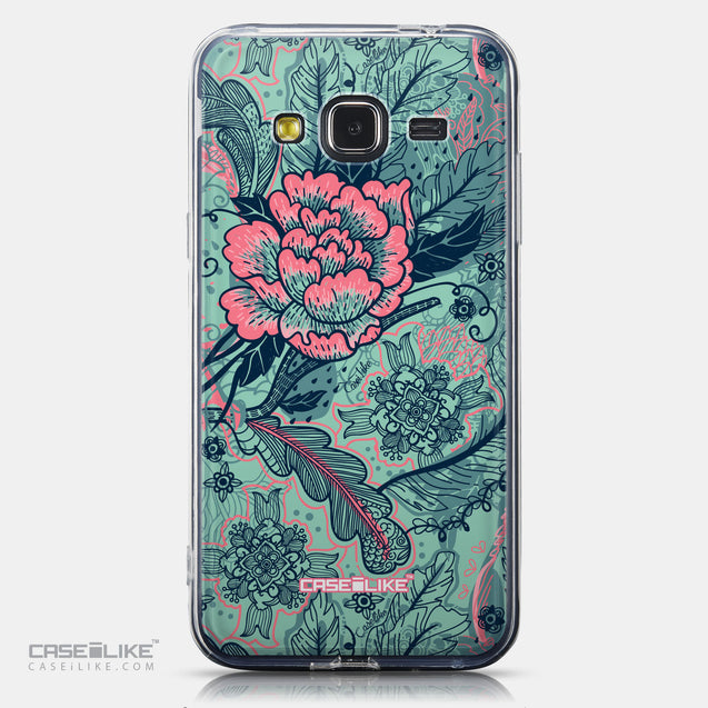 CASEiLIKE Samsung Galaxy J3 (2016) back cover Vintage Roses and Feathers Turquoise 2253