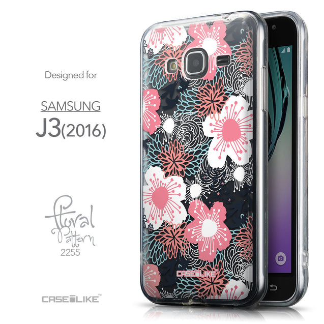 Front & Side View - CASEiLIKE Samsung Galaxy J3 (2016) back cover Japanese Floral 2255