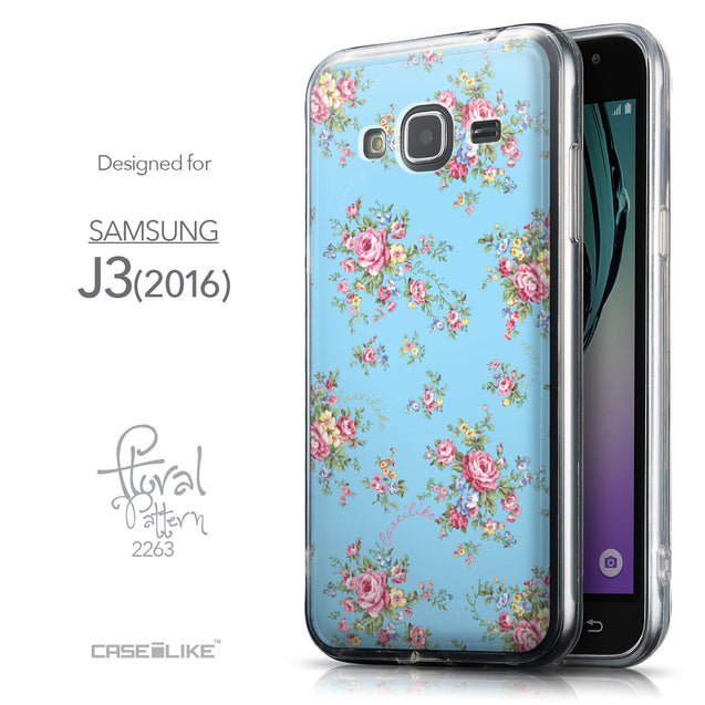 Front & Side View - CASEiLIKE Samsung Galaxy J3 (2016) back cover Floral Rose Classic 2263