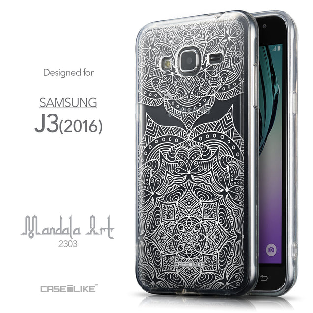 Front & Side View - CASEiLIKE Samsung Galaxy J3 (2016) back cover Mandala Art 2303